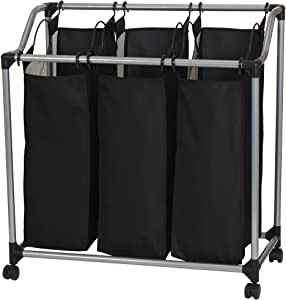 Household Essentials 9117 Triple Laundry Sorter on Wheels - Black and Grey
