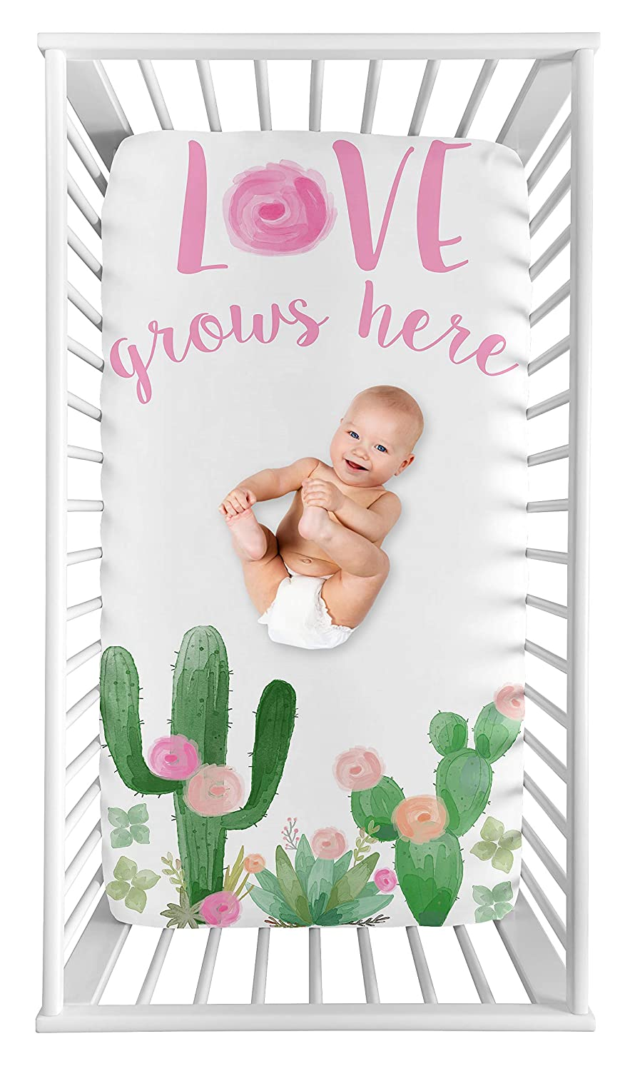Sweet Jojo Designs Cactus Floral Girl Fitted Crib Sheet Baby or Toddler Bed Nursery Photo Op - Pink and Green Boho Watercolor Love Grows Here