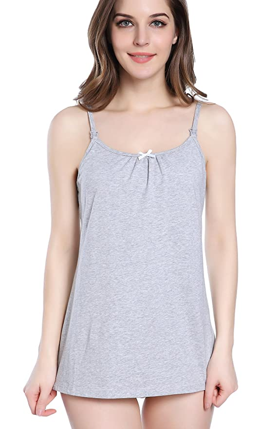 Intimate Portal Women Snuggle-Touch Cotton Maternity Nursing Cami Tank Tops