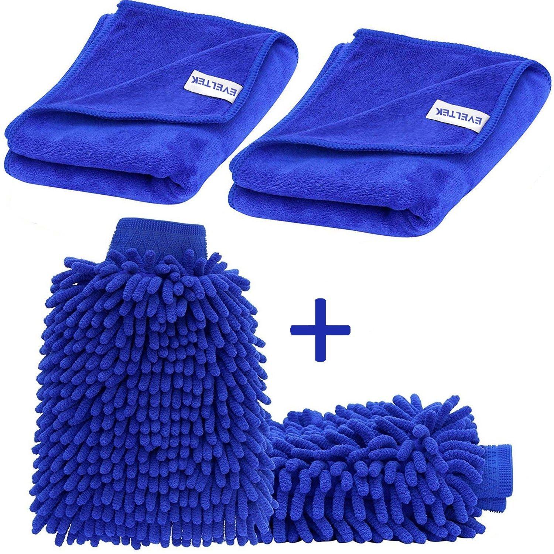 EVELTEK (2 pezzi) Auto Wash Mitt e(2 pezzi) Panno Microfibra , Autolavaggio Guanto Pulizia Lavare Guanti con Auto per pulizia lucidatura asciugamano(Blu) (30x70cm) EL-3070-UK
