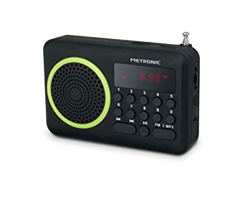 Metronic 477202 - Radio portátil FM compacto con puerto USB, lector tarjeta Micro SD, color negro/verde
