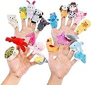 Oiuros 20pcs Different Cartoon Animal Finger Puppets Soft Velvet Dolls Props Toys Easter Basket Stuffers
