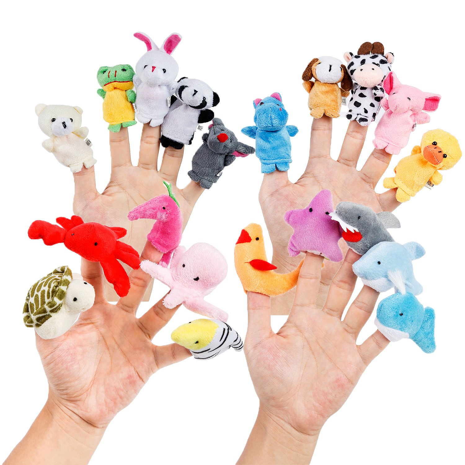 Oiuros 20pcs Different Cartoon Animal Finger Puppets Soft Velvet Dolls Props Toys