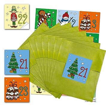 24 Grüne Papiertüten Adventskalender Tüten Zum Weihnachtskalender Selber Basteln 13 X 18 Cm 24 Aufkleber 6 X 6 Cm Mit Adventskalender Zahlen Von 1