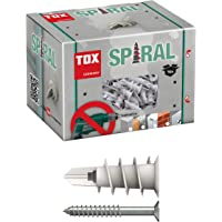 TOX Gipsplaatpluggen spiraal 32 mm met schroef 4,5 x 45 mm, voor eenlaags gipsplaten panelen, 50 stuks pluggen en 50…