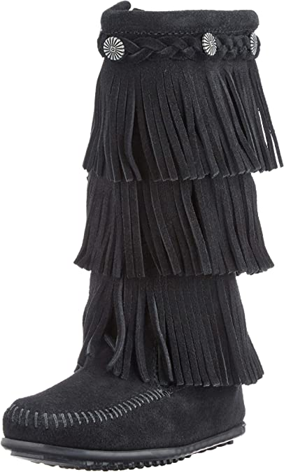 NEW Minnetonka Youth Girl/'s 3-Layer Fringe Suede Boots Brown #2652 W119 pp