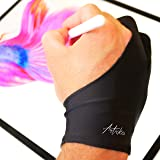 Articka Artist Glove for Drawing Tablet, iPad (Smudge Guard, Two-Finger, Reduces Friction, Elastic Lycra, Good for Right and Left Hand, Large Size)