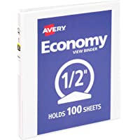 "Avery 1/2 inch Economy View 3 Ring Binder, Round Ring, Holds 8.5"" x 11"" Paper, 1 White Binder (5706)"