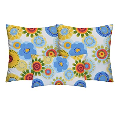 """RSH Décor Indoor Outdoor Set of 2-20"""" Square and 1-Rectangular (20""""x12"""") Lumbar Toss Throw Pillow Set Weather Resistant Choose Pillow Color (Confetti Abstract Floral Red Blue Yellow Creme): Home & Kitchen"""