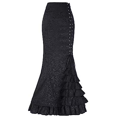 Women's Steampunk Victorian Mermaid Skirt High Waist Vintage Maxi Skirt BP000204 (10, Black-BP204) at Women's Clothing store