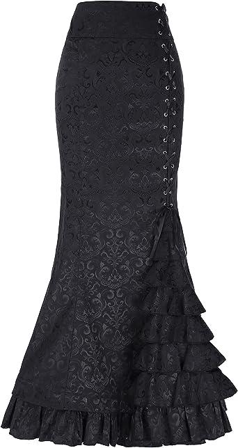 Belle Poque Mujer Falda Larga Vintage De Cintura Alta Taile Volantes