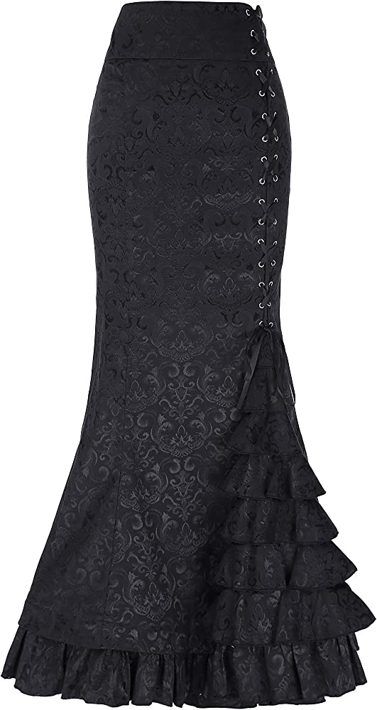 Belle Poque Falda asimétrica Negra Falda Acampanada Negra Falda ...