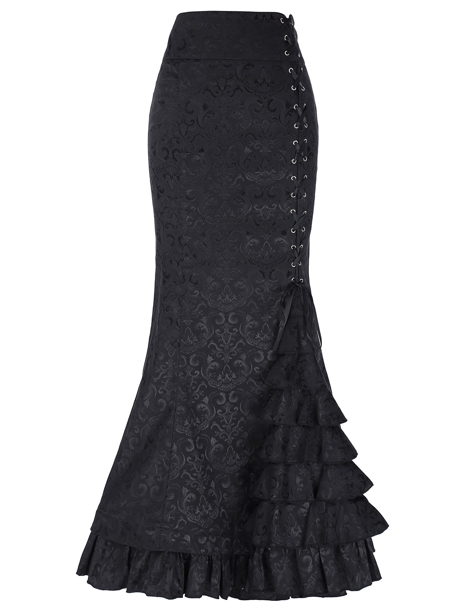 Belle Poque Black Victorian Steampunk Mermaid Skirt for Women Corset Style Size 8 Black BP204-1