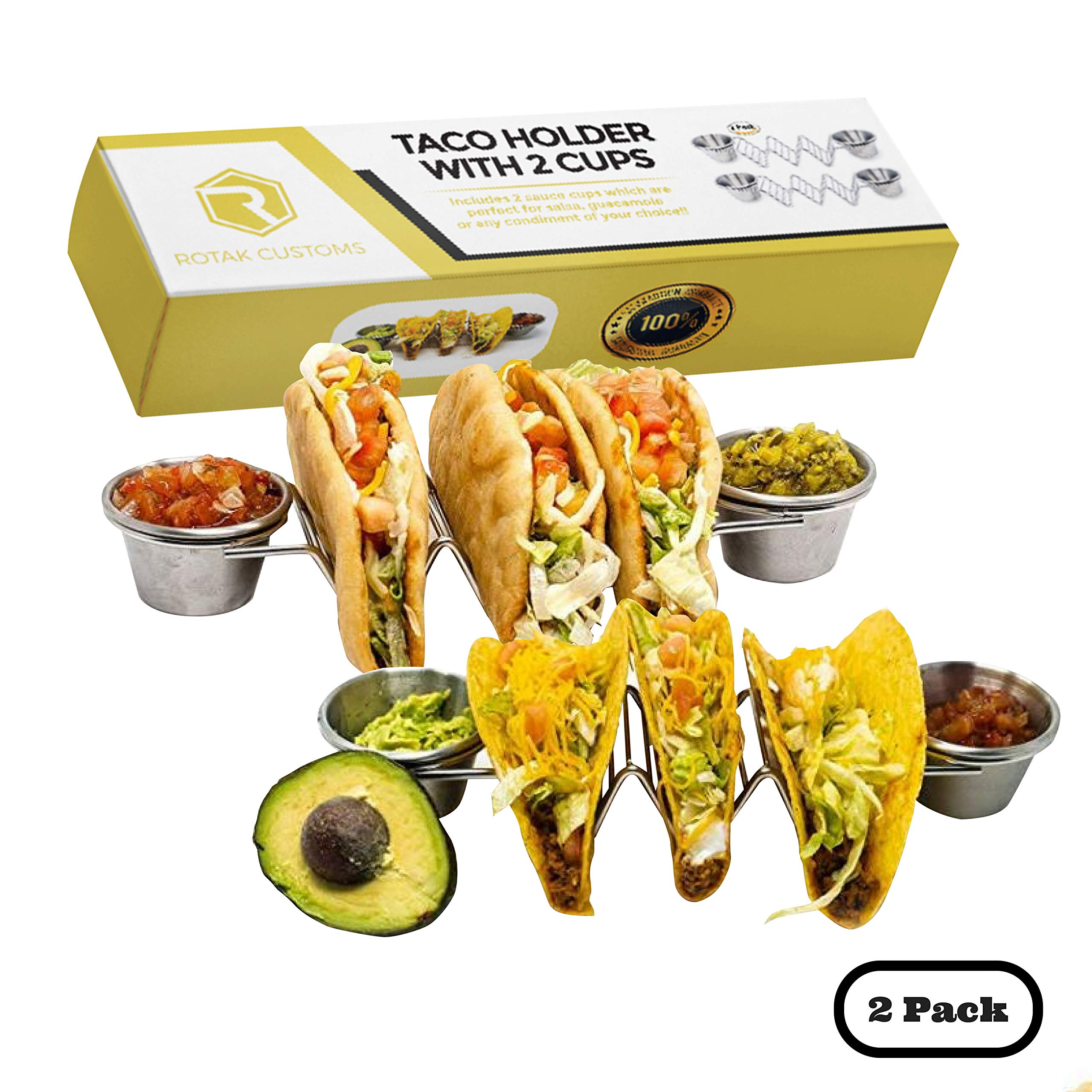 Taco Holder Stand With Cups- Premium 2 Pack Taco Stand With 2 Sauce Cups-Stainless Steel Dual Cup Taco Holders And Rack Holds Up To 3 Tacos Each- Perfect As Hot dog Holder Oven Safe