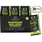 Deodorizing Body Wipes 100% Pure Bamboo with Tea Tree Oil- 30 count Individually Wrapped Moist Towels Extra Large Adult Size (10in x 10in) Hypoallergenic Shower Cleansing Washcloths with Fresh Scent