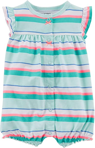 ce568b785549 Amazon.com  Carter s Baby Girls Stripe Crab Snap-Up Romper  Clothing
