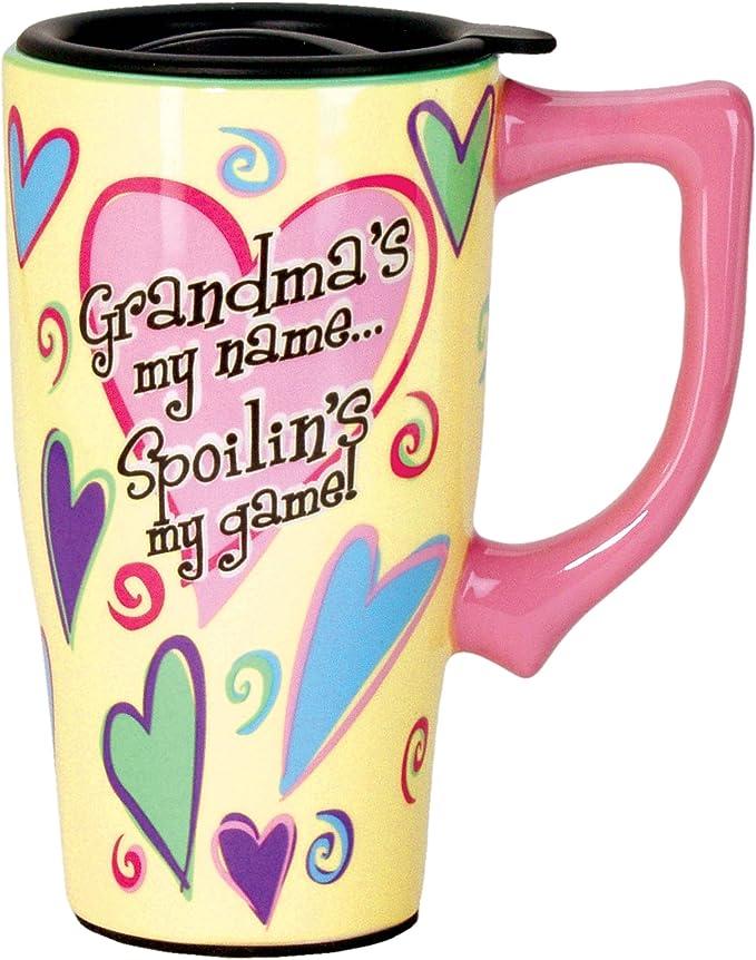 Spoontiques Grandma Ceramic Travel Mug 18 Ounces Yellow Grandma Gifts Kitchen Dining