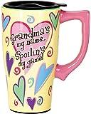 Spoontiques Grandma Ceramic Travel Mug, 18 ounces, Yellow