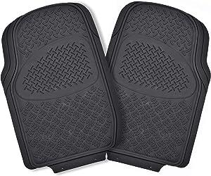 FlexTough Rubber Floor Mats for Car SUV Truck & Van - (Black) Metal Grate Design Heavy Duty All Weather Protection
