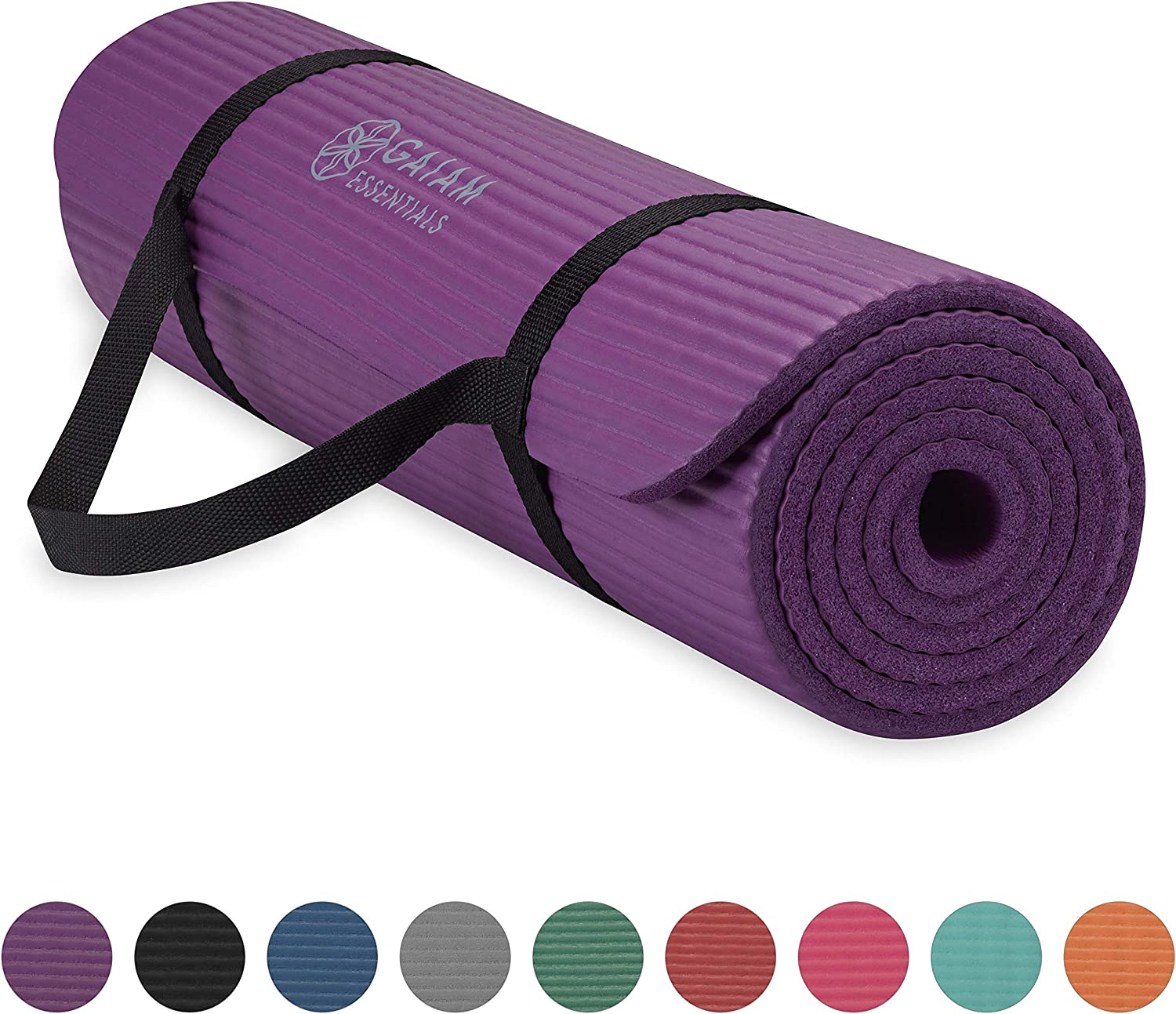 Gaiam Essentials Thick Yoga Mat Fitness & Exercise Mat with Easy-Cinch Yoga Mat Carrier Strap, 72