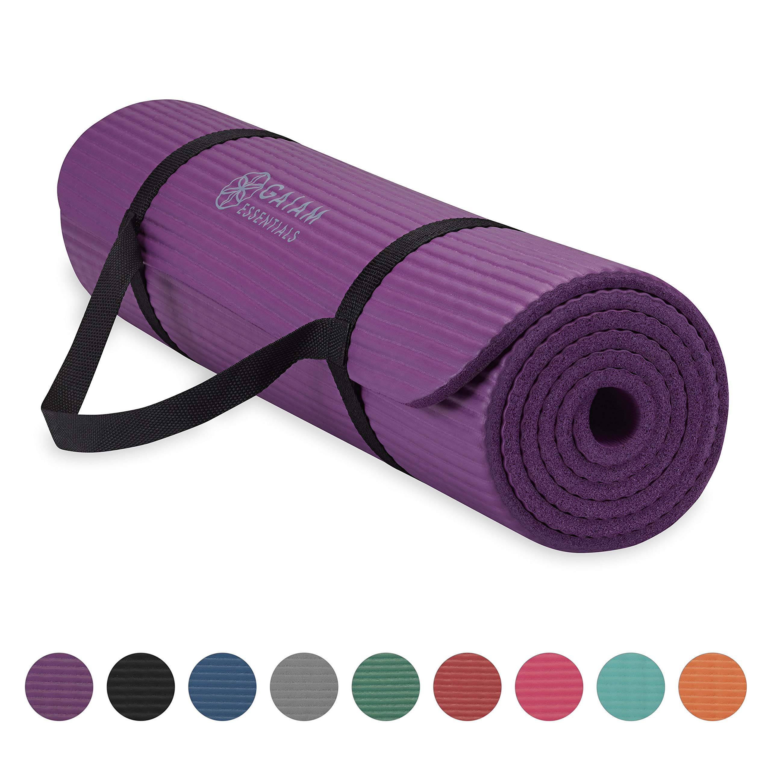 Gaiam Essentials Thick Yoga Mat Fitness & Exercise Mat with Easy-Cinch Yoga Mat Carrier Strap, Purple, 72''L x 24''W x 2/5 Inch Thick