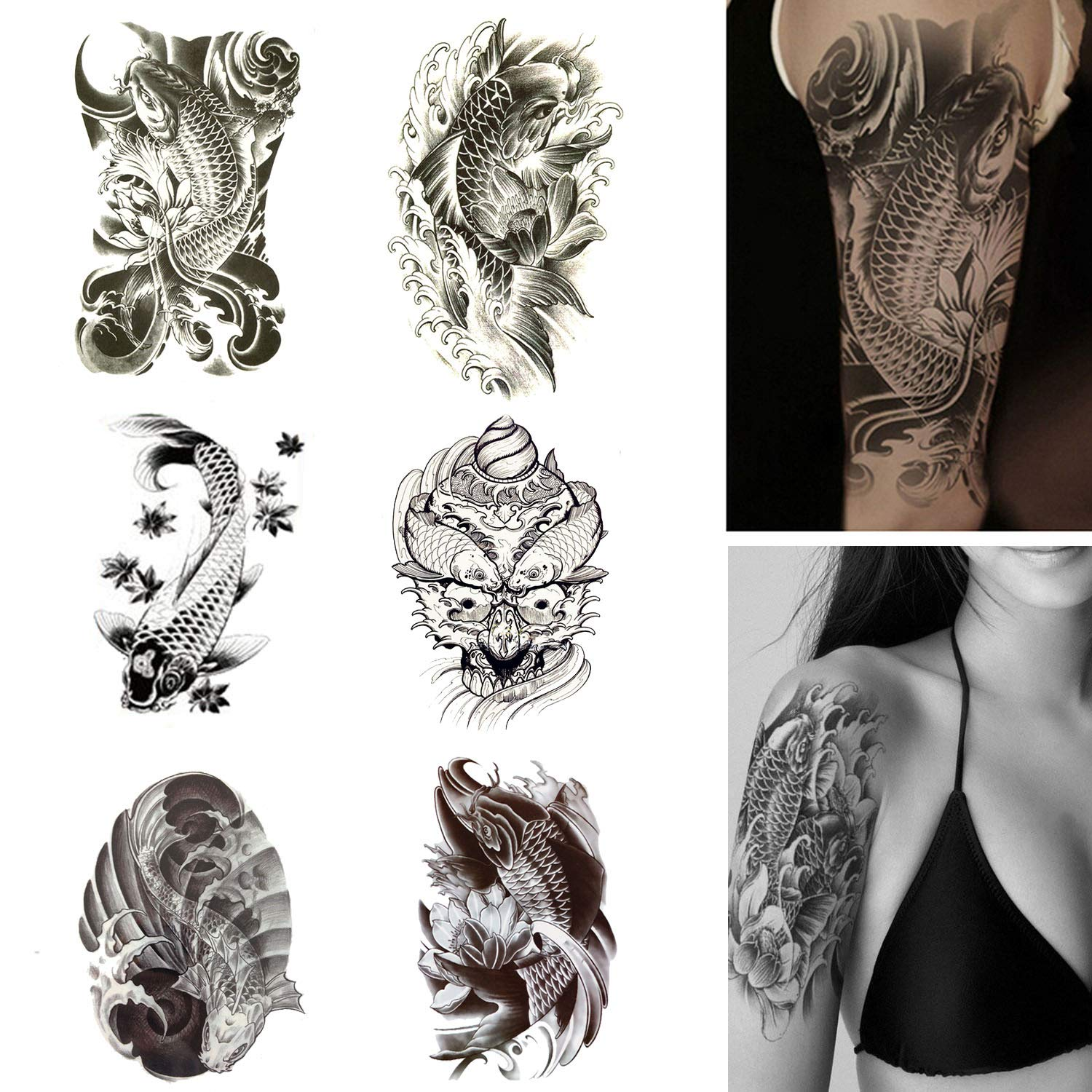 176ef8238b935 Amazon.com : Koi Fish Temporary Tattoos Large Fake Tattoo Stickers Black  and White Fish with Lotus for Men Women Arm Shoulder Body Make Up Set :  Beauty