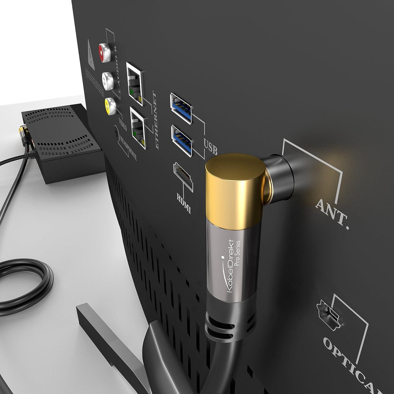 4K-Videowiedergabe und ARC 75 Ohm, Koax Stecker  Koax Kupplung Koaxialkabel KabelDirekt 0,5m - Antennenkabel 90/° gewinkelt /& Basics Hochgeschwindigkeits-HDMI-Kabel 2.0 0,91 m