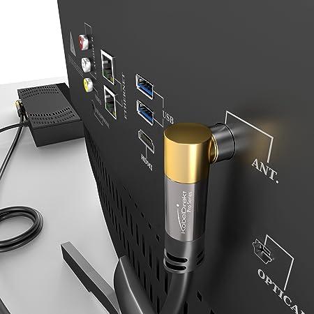 KabelDirekt – 7,5m Cable Coaxial Antena en Ángulo 90° (Clase A, Soporta DVB-T, DVB-S, DVB-C, DVB-S2 y HDTV, para TV y Radio), Pro Series