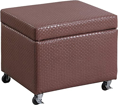 "Ore International Inc. HB4788 17"" Auburn Brown Basketweave Leatherette Filing Storage Ottoman SEAT W/Industrial Caster Wheels"