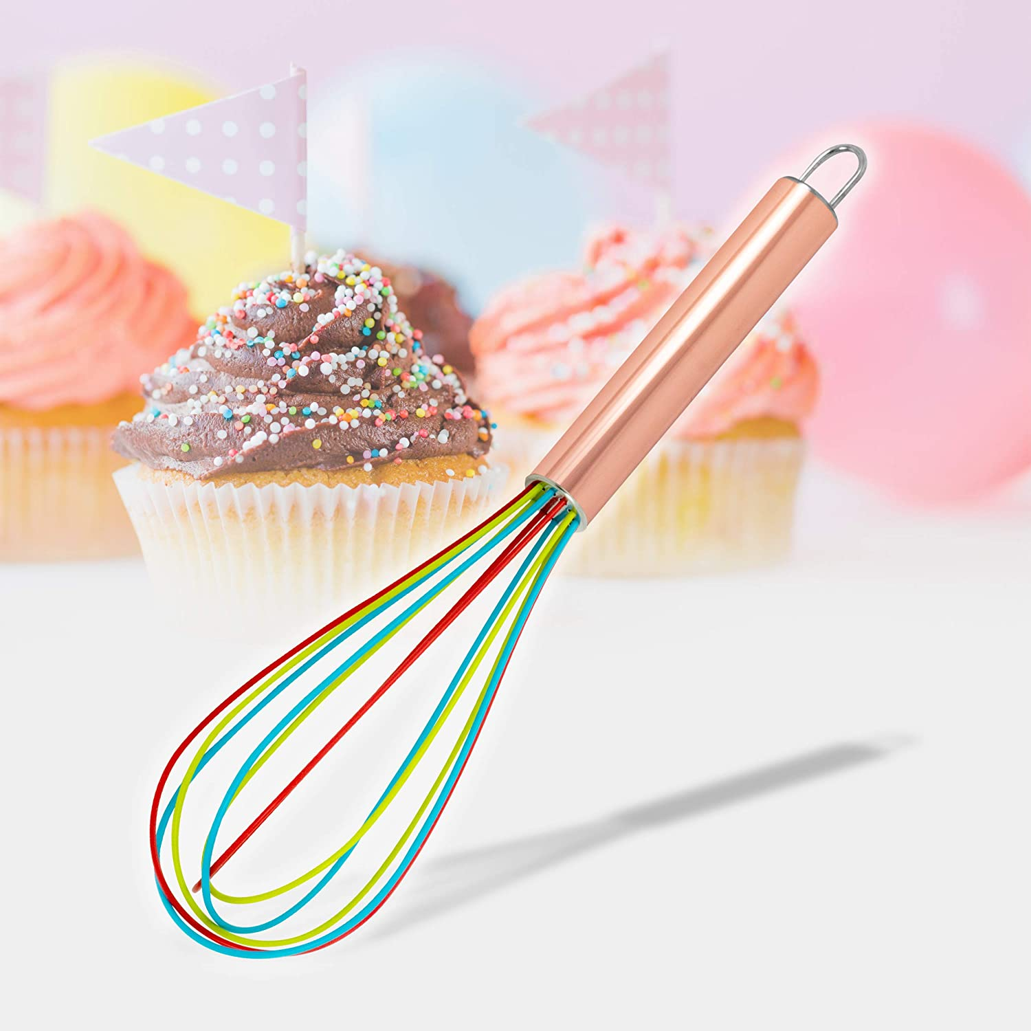 """ExcelSteel 230 Perfect Durable Gift for Mixing Easy to Clean Up Silicone Tri-Color Whisk, 8"""", Rose Gold"""