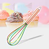 """ExcelSteel Perfect Durable Gift for Mixing Easy to Clean Up Silicone Tri-Color Whisk, 8"""", Rose Gold"""