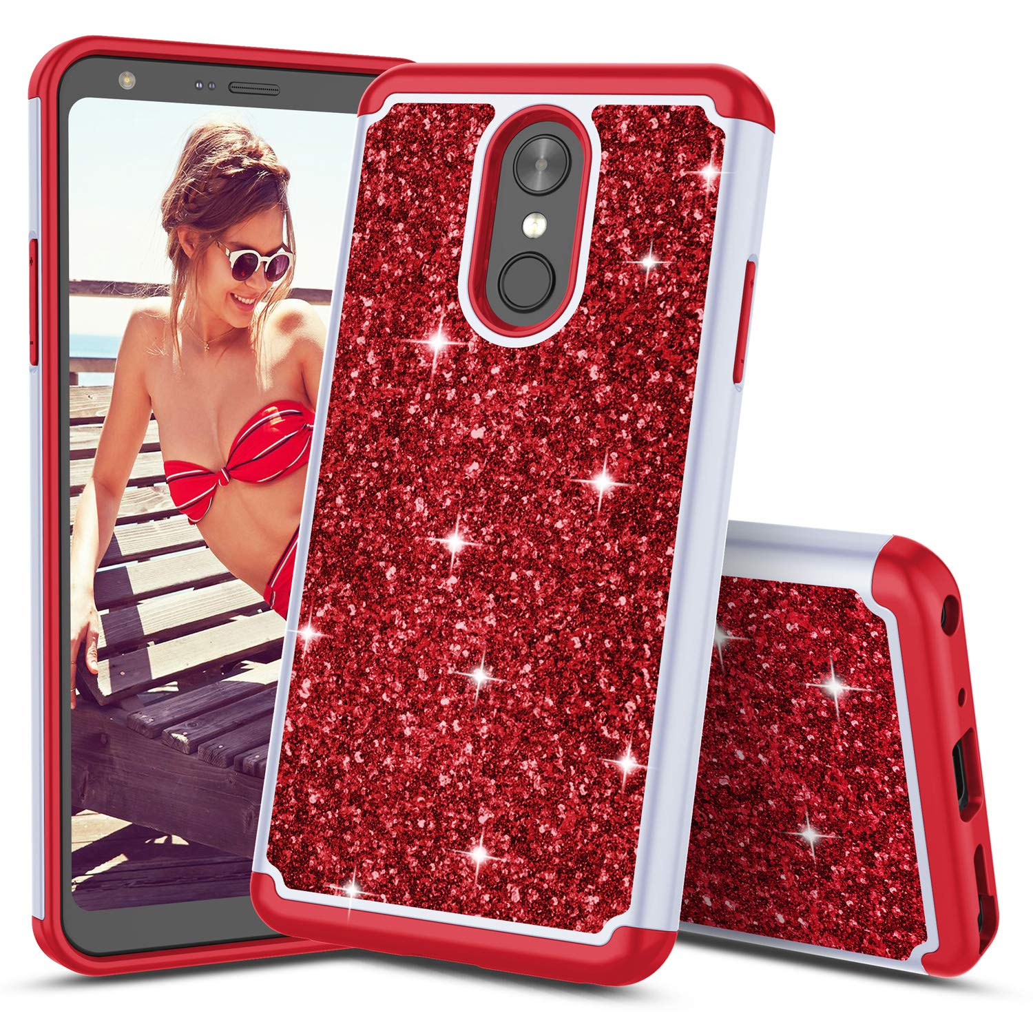 TILL for LG Q Stylo 4 Case, TILL Luxury [Sparkle Sequins] LG Stylo4 Plus Bling Shiny Color Glitter Fashion Case Dual Layer TPU Soft Inner Hard PC Protective Cute Case Cover Shell for LG Q Stylus [Red]