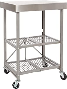Origami Folding Kitchen Cart on Wheels | for Chefs Outdoor Coffee Wine and Food, Microwave Cart, Kitchen Island on Wheels, Rolling Cart, Kitchen Appliance & Utility Cart, Commercial-Grade Metal