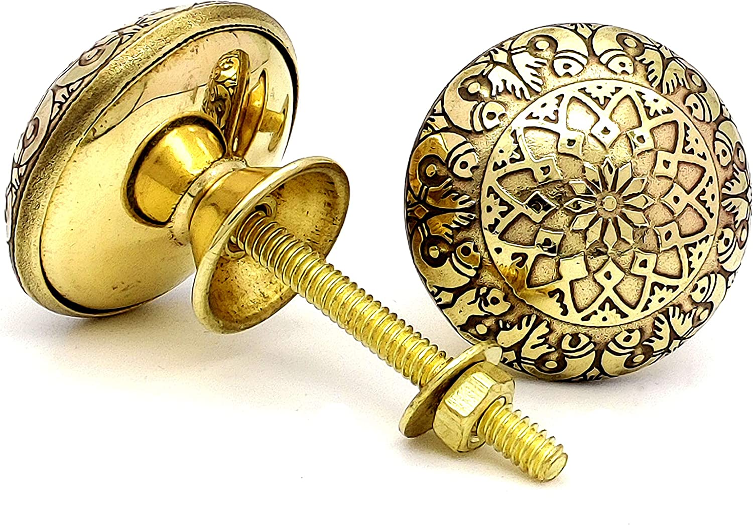 5MoonSun5's Brass Door Knobs/Drawer Pulls Dresser Door Knobs/Pull and Push Handle Knobs for Cabinets, Wardrobes & Kitchen Cupboards/Handmade Classic Hardware Decor Fish Engraved, 38 mm Set of 2