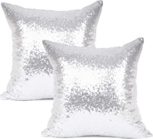 "YOUR SMILE Pack of 2, New Luxury Series Silver Decorative Glitzy Sequin & Comfy Satin Solid Throw Pillow Cover Cushion Case for Wedding/Christmas,18"" x 18"""