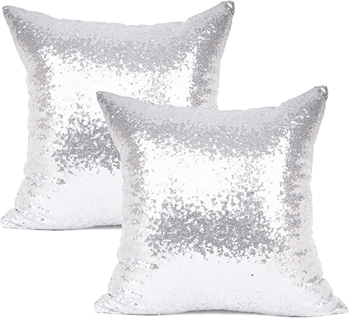 """YOUR SMILE Pack of 2, New Luxury Series Silver Decorative Glitzy Sequin & Comfy Satin Solid Throw Pillow Cover Cushion Case for Wedding/Christmas,18"""" x 18"""""""