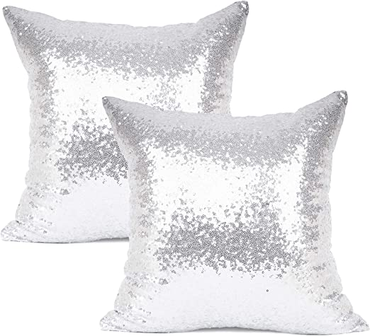 """YOUR SMILE Pack of 7, New Luxury Series Silver Decorative Glitzy Sequin &  Comfy Satin Solid Throw Pillow Cover Cushion Case for Wedding/Christmas,7"""""""