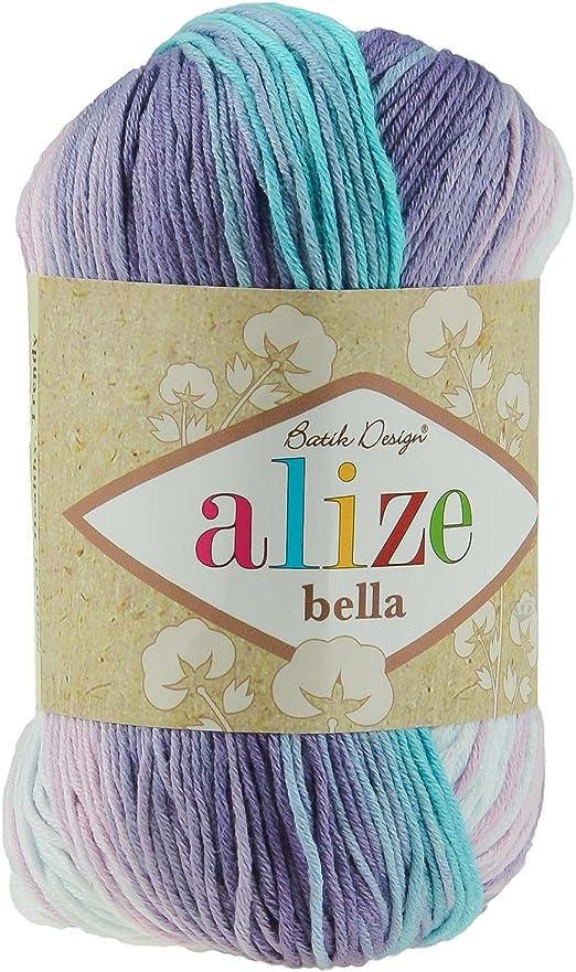 Ovillo de lana de verano BELLA BATIK by ALIZE, algodón, 50 G, no 3677 cielo y lavanda: Amazon.es: Hogar