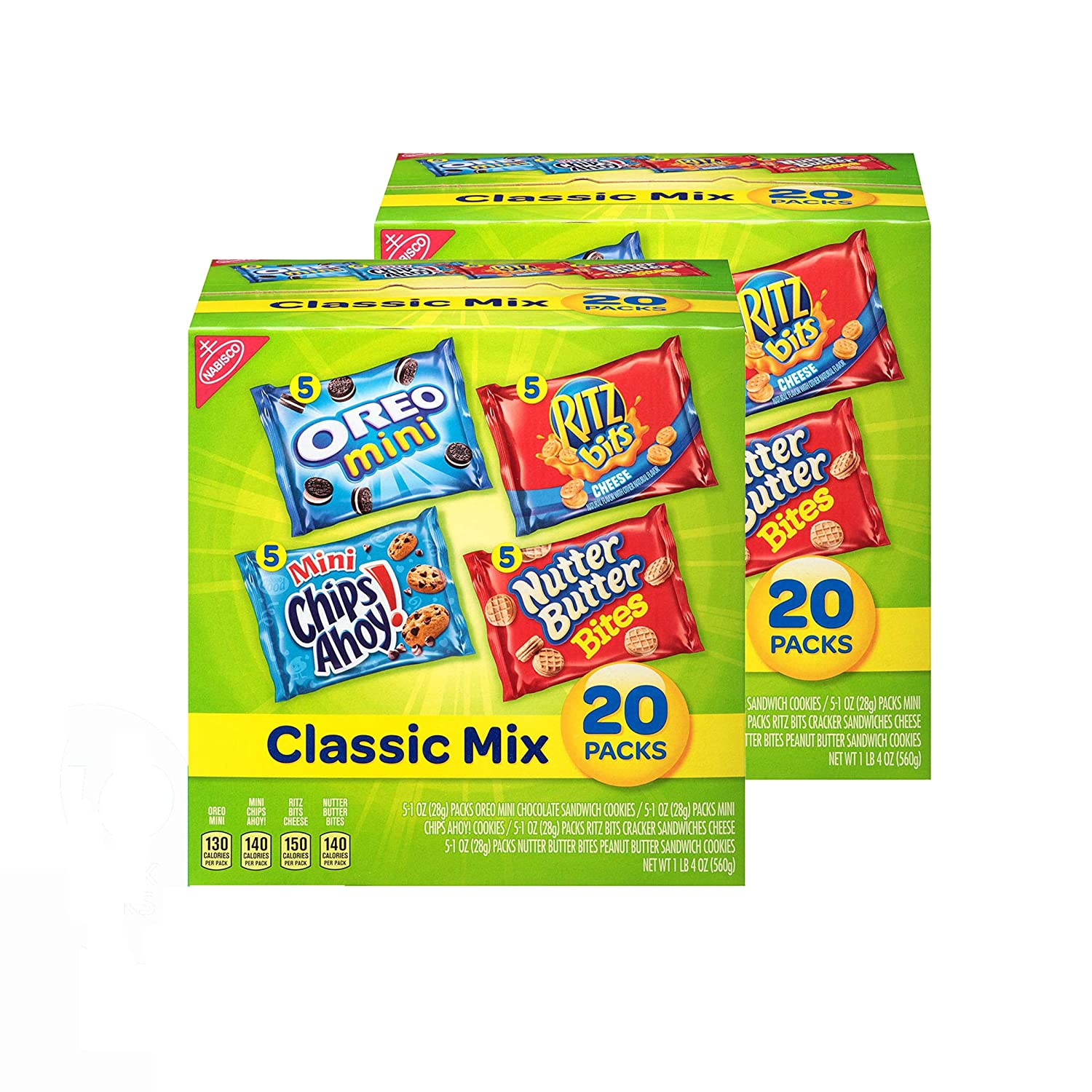 Nabisco Classic Mix Cookies & Crackers Variety Pack, OREO Mini, CHIPS AHOY! Mini, Nutter Butter Bites, RITZ Bits Cheese, Halloween Treats, 40 - 1 oz Snack Packs (2 Boxes)