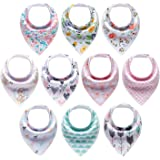 10-Pack Baby Girl Bandana Drool Bibs Gift Set for Drooling Teething by MiiYoung