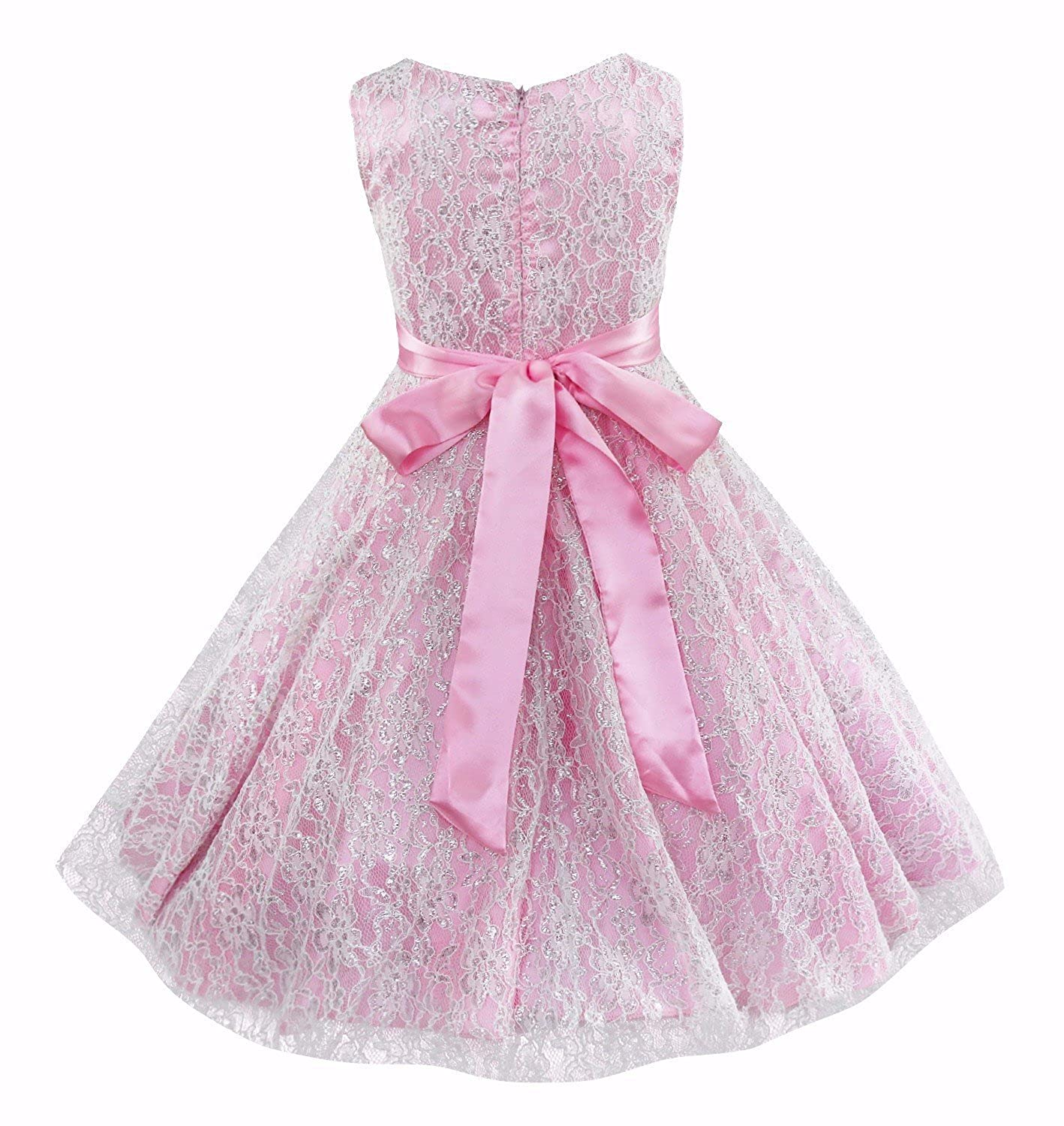 iEFiEL Girls V-Neck Lace Flower Girls Dress Wedding Bridesmaid Party Dress Prom Party Ball Gown: Amazon.co.uk: Clothing
