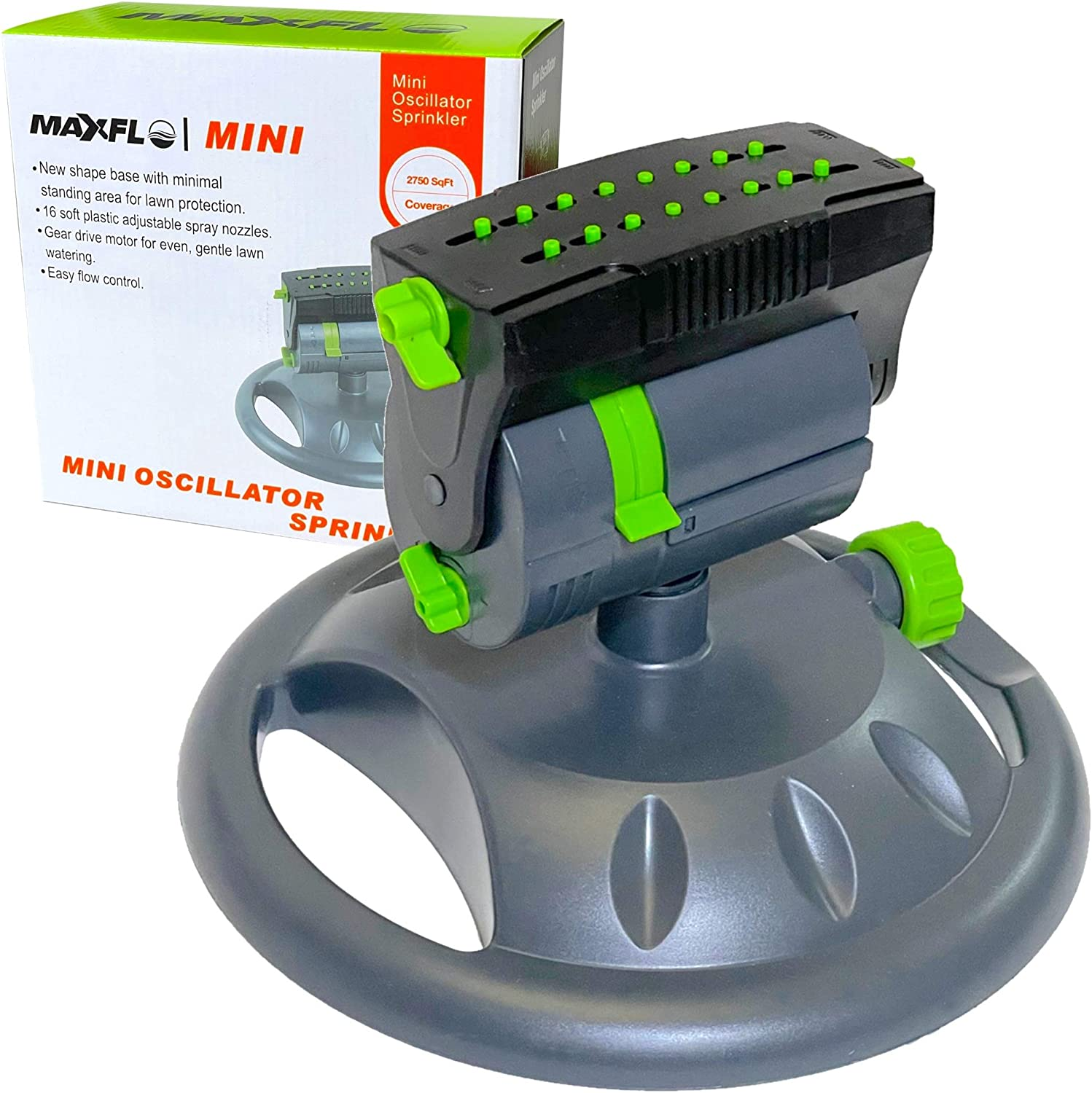 MAXFLO Sprinklers for Yard | Heavy Duty Water Sprinklers for Lawn | Garden Sprinkler for Yard | Mini Oscillating Sprinkler 360 Degree Sprinkler Watering System | Large Coverage | Leakproof Connection