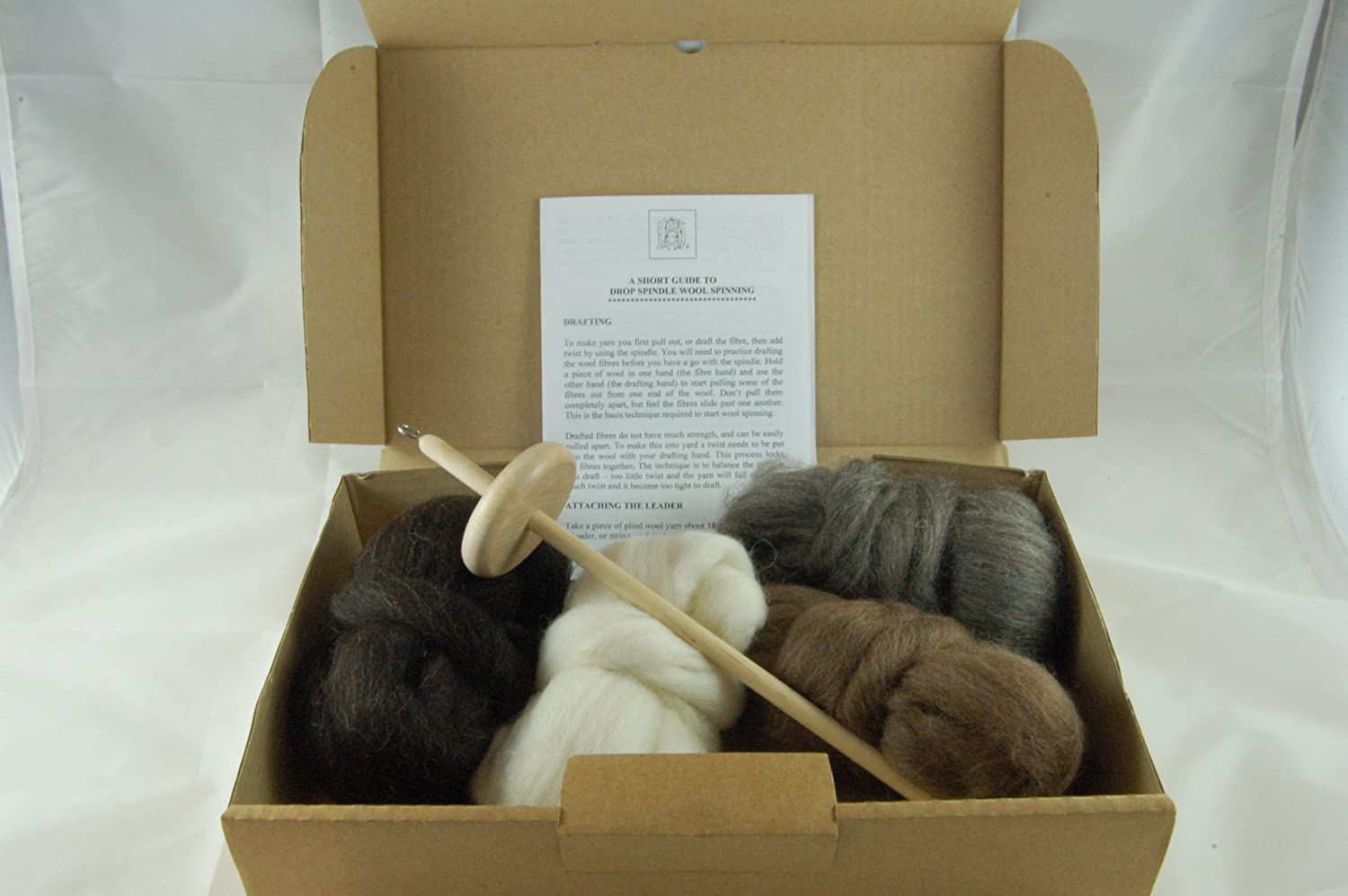 Hand Wool Spinning Starter kit - Includes Drop Spindle, Instructions and 4 Shades of Finnish Sheeps Wool rovings