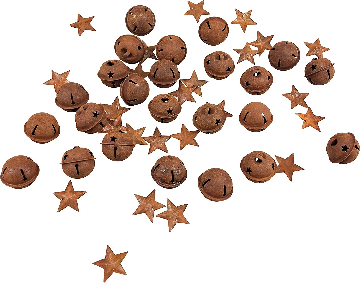 24 Pcs Rusty Craft Jingle Bells with Star Shaped Cutouts and 24 pcs Rusty Stars with a Hollow for Christmas Holiday Home Party Decor