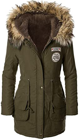 Sugar Pocket Manteau Femme Chaud Parka Hiver Fourrure avec Capuche  Militaire Style  Amazon.fr  Vêtements et accessoires d076b9df2db