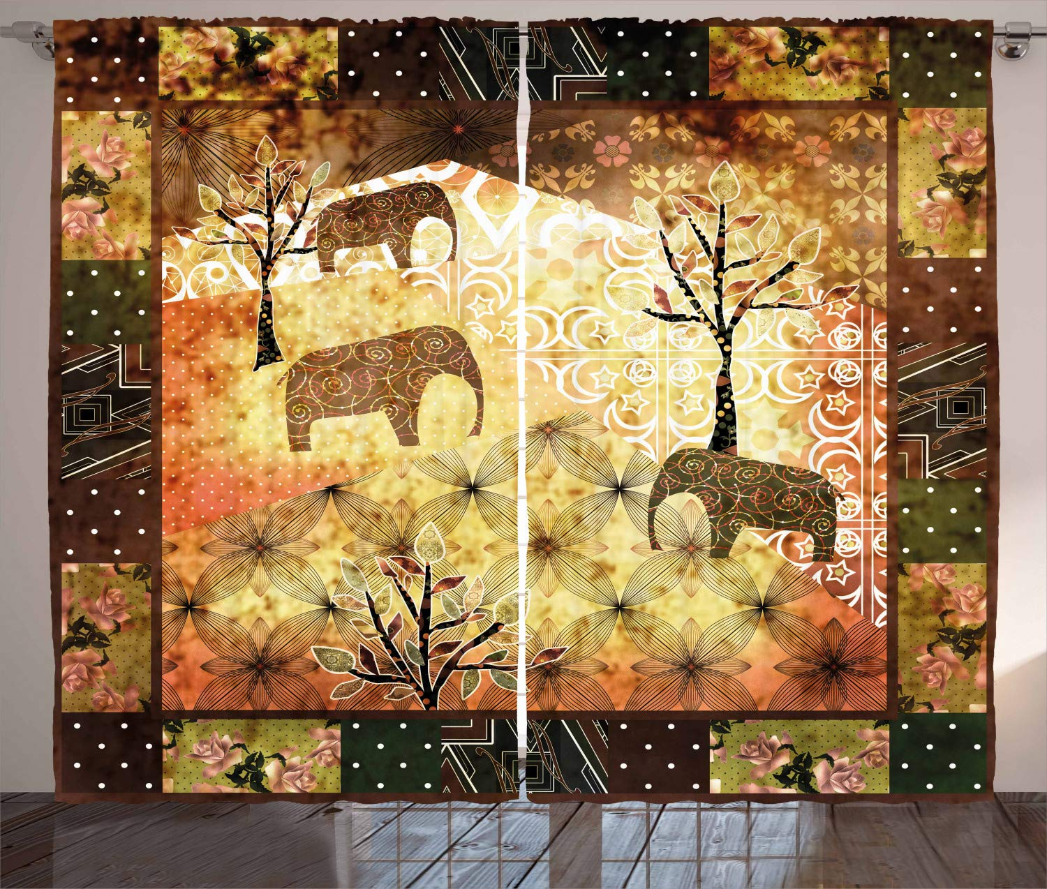 Living Room Bedroom Window Drapes 2 Panel Set 108 W X 63 L Inches Electric Guitar in The Wooden Room Country House Interior Music Theme Black Brown Ambesonne Popstar Party Curtains
