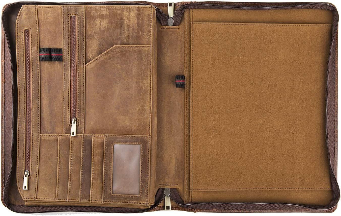 Vintage Leather Portfolio File Folder Meeting Organizer carry A4 Size Paper