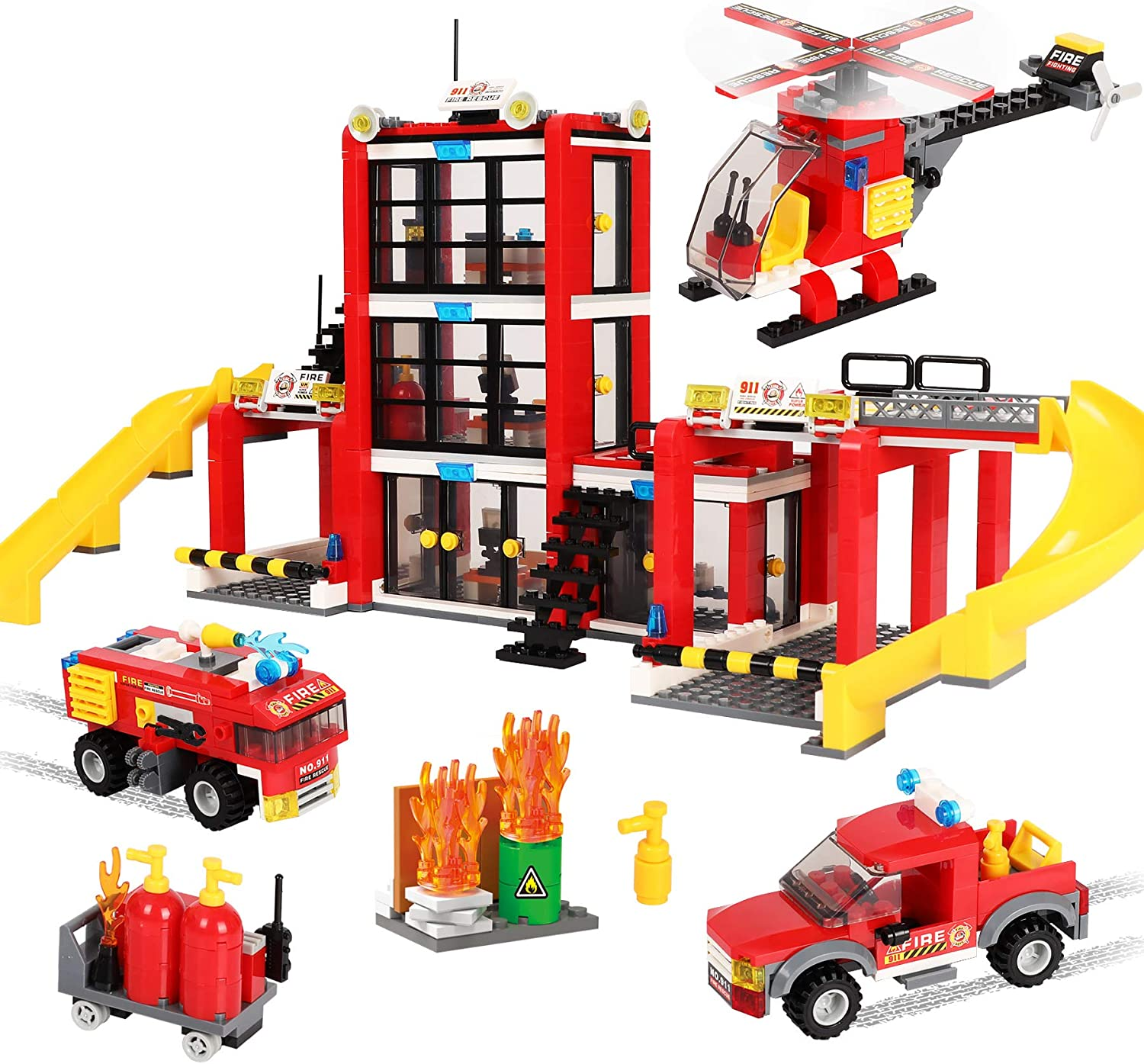 Roleplay Parent-Child Playset Vehicle Fire Truck Gift for Kids Boys Girls 6-12 Creative Fire Rescue Toy 896 Pieces City Fire Station STEM Building Blocks Set Helicopter Baseplates Storage Box