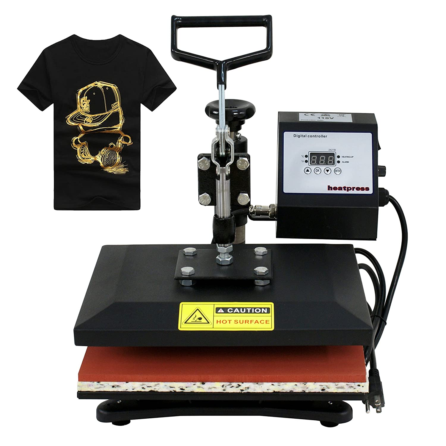 F2C Professional Swing Away 360-degree Rotation Digital Heat Transfer Sublimation T-shirt Heat Press Machine for T shirt Black