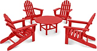 product image for POLYWOOD PWS119-1-SR Classic Adirondack 5-Piece Conversation Set, Sunset Red